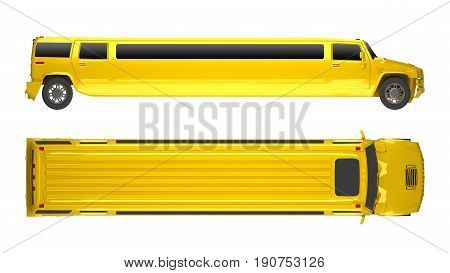 yellow Limousine truck isolated on white. 3d rendering