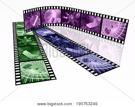Film roll with toned pictures (communication) on white background 3D illustration.