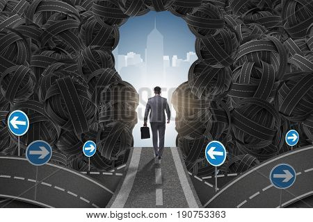 Businessman walking towards his ambition goal concept