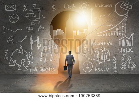 Businessman walking towards keyhole in business concept