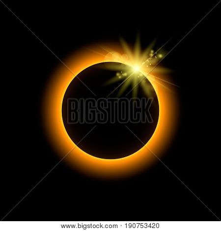 Eclipse With Sun Rays Space, Vector Illustration