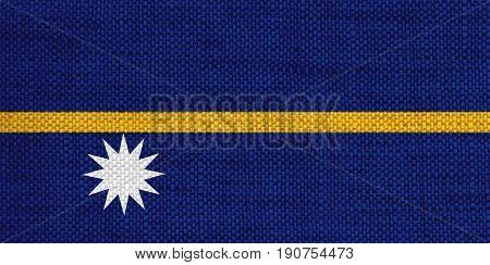 Flag Of Nauru On Old Linen