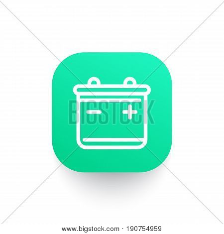 battery line icon on green shape, eps 10 file, easy to edit