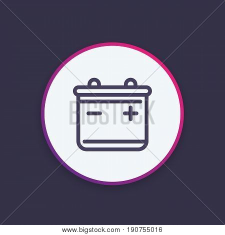 battery icon in linear style, vector illustration, eps 10 file, easy to edit