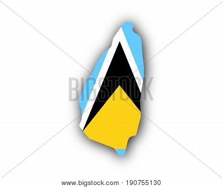 Map And Flag Of Saint Lucia