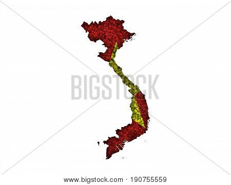 Map And Flag Of Vietnam On Poppy Seeds