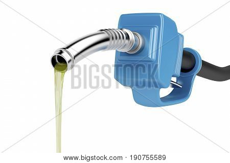 Pouring fuel with blue pump nozzle isolated on white background, 3D illustration
