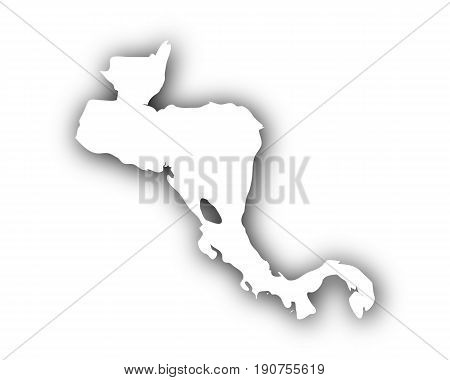 Map Of Central America With Shadow