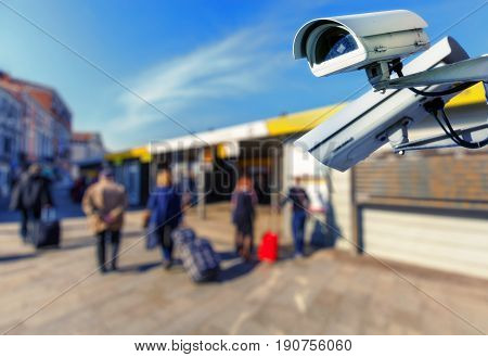 Security Cctv Camera With Boat Station On Blurry Background