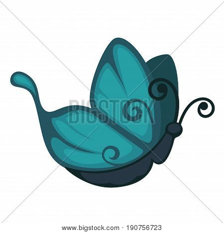 Blue cartoon butterfly with curled antennae and pattern on wings of unusual form from side view isolated vector illustration on white background. Unique fauna species that lives in tropical countries.