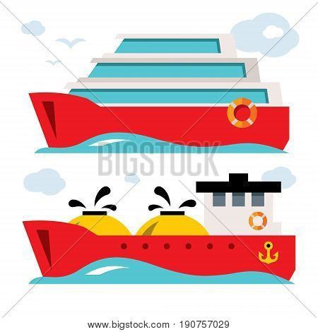 Cruise liner and oil tanker. Isolated on a white background