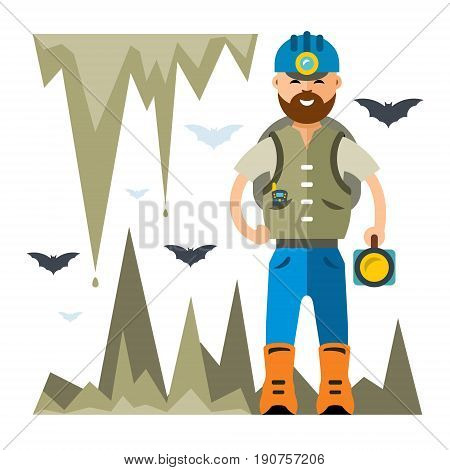 Man explores the cave. Isolated on a White Background