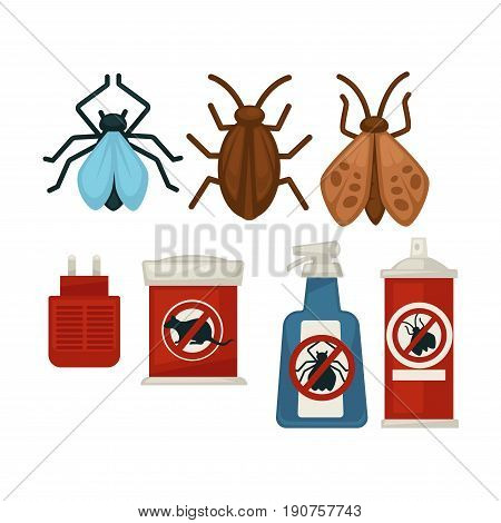 Anti pests warning signs on products and insects set above isolated on white vector collection. Harmful small animal that destroy food and objects and and special equipments for their destruction