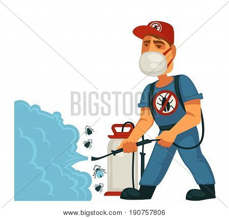 Exterminator in uniform with strikethrough beetle symbol, red cap, face mask and special equipment sprays chemical substance against insects isolated vector illustration on white background.