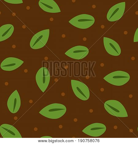 Seamless pattern with leaves and dots. Green brown color. Vector illustration