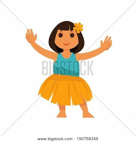 Little brunette girl from Hawaii with orange flower in hair in traditional straw skirt and bright blue shirt stands with raised hands isolated cartoon vector illustration on white background.