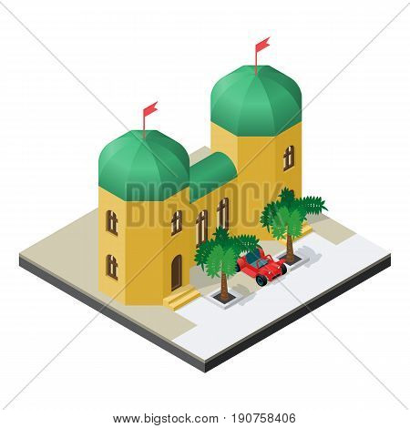Arabian palace with car and palm trees in isometric view.