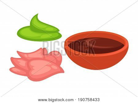 Supplements to Chinese or Japanese seafood and rice vector illustrations set. Green hot sauce wasabi, healthy spicy ginger and dark liquid soy sauce in small red bowl isolated on white background.