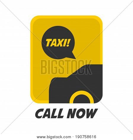 Vector illustration of yellow and black colored taxi sign with call now words