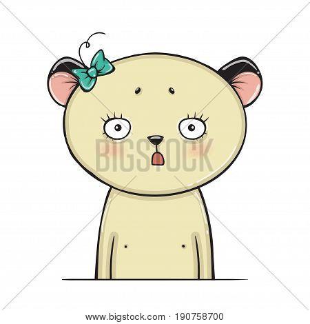 Surprised panda bear vector. animal pattern. cute illustartion.t-shirt graphics
