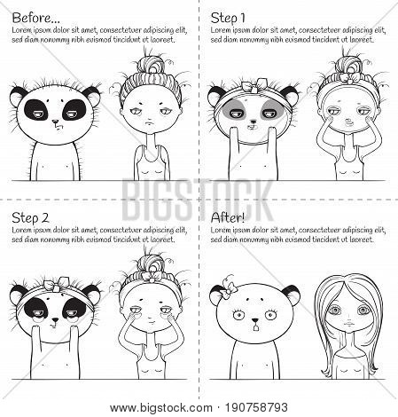 Cute Facial treatment monochrome instruction, girl and panda. Vector illustration. black and white