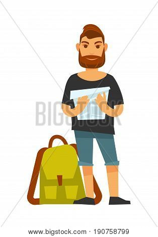 Man standing near travelling backpack and holds map. Vector colorful illustration in flat design of male person wearing summer t-shirt and short jeans going to travel and searches for destination