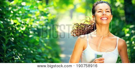 Running sporty woman. Female Runner Jogging during Outdoor Workout in a morning Park. Beautiful fit Girl. Fitness model outdoors. Weight Loss. Healthy lifestyle. Jogging healthy female. Wide banner