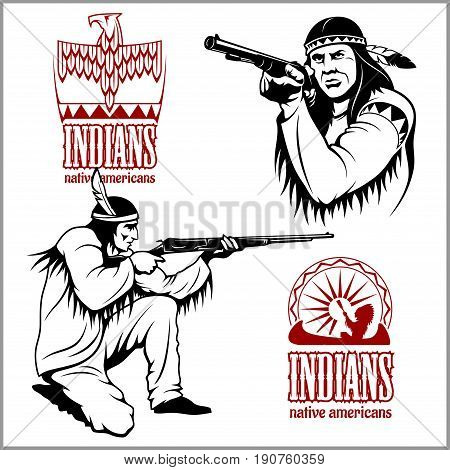 American indians set of four vintage emblems, labels and logos in monochrome style isolated on white background