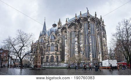 AACHEN GERMANY - FEBRUARY 20 2016: Aachen cathedral is the oldest Roman Catholic church in northern Europe Aachen Germany
