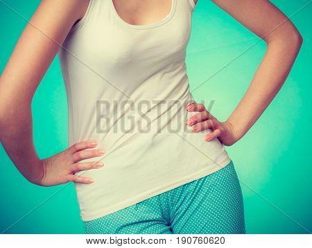 Woman Wearing Comfortable Pajamas, Home Clothes