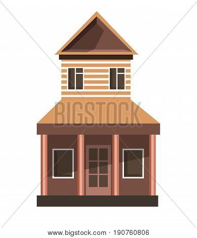 Vector illustration of thin and tall brown vintage house isolated on white.