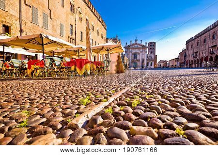 Mantova City Paved Piazza Sordello And Idyllic Cafe View