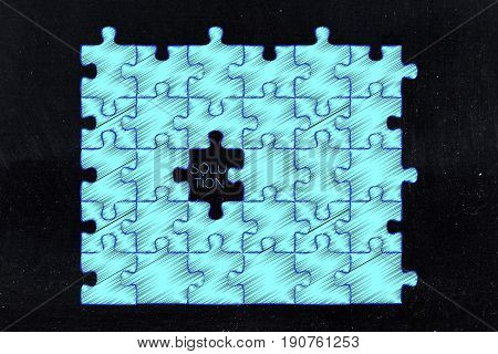 Jigsaw Puzzle With Solution Piece Missing