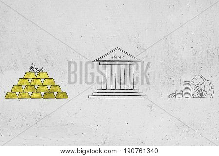 Pile Of Gold Ingots Next To Bank Building And Cash