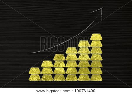 Piles Of Gold Ingots With Arrow Going Up