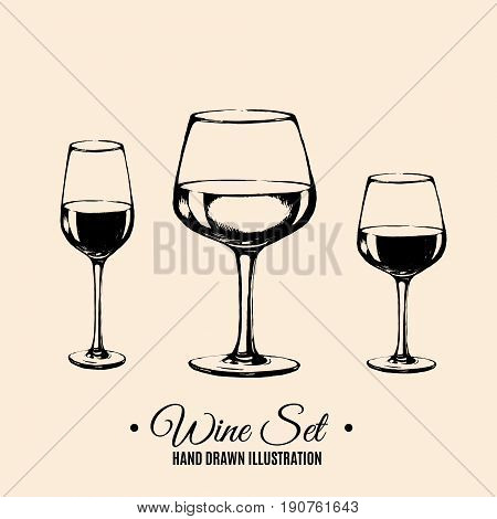 Vector hand sketched illustration of glass of wine. Icon for menu design. Template for card, poster, banner, print for t-shirt.