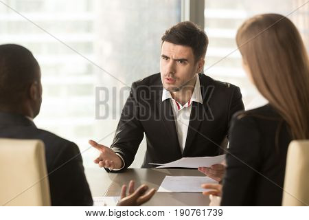Angry boss dissatisfied with bad work result, displeased businessman holding contract arguing with contractor, demanding termination, loss compensation, defrauded cheated investor protecting rights poster