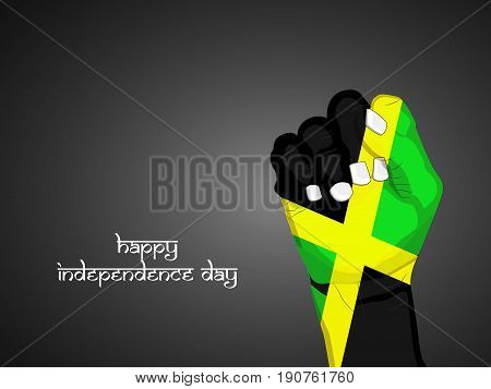illustration of hand in Jamaica flag background with Happy Independence day text on occasion of Jamaica Independence day