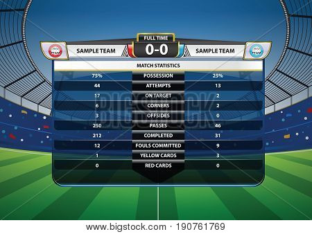 Football Soccer Match Statistics on Soccer stadium football cheer fans background. Infographic. Vector illustration.