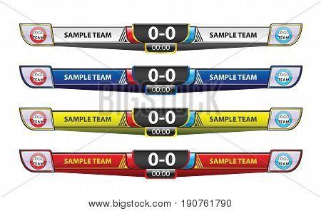 Template scoreboard design elements for sport vector illustration.