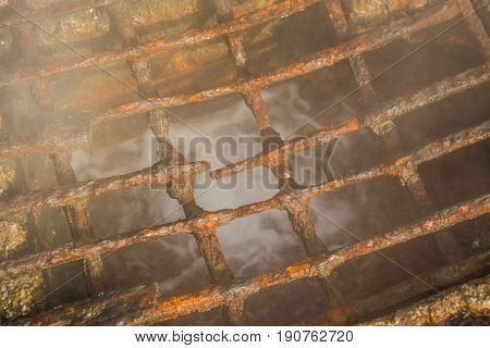 Rusty Corroded Grating Over  Thermal Spring In Loutra Edipsou