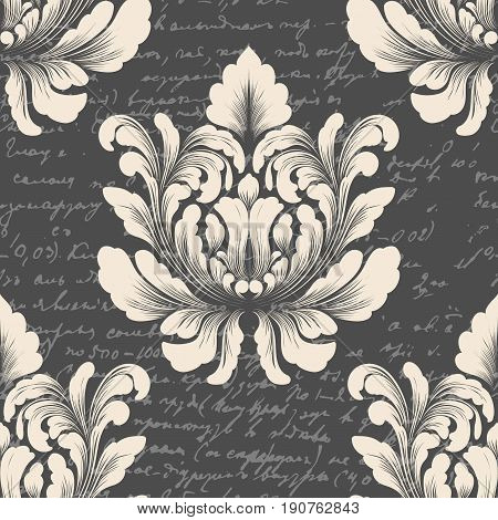 Vector damask seamless pattern element with ancient text. Classical luxury old fashioned damask ornament, royal victorian seamless texture for wallpapers, textile. Exquisite floral baroque template.