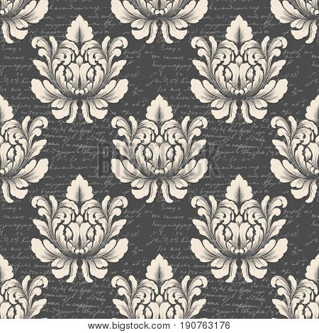 Vector damask seamless pattern background with ancient text. Classical luxury old fashioned damask ornament, royal victorian seamless texture for wallpapers, textile. Exquisite floral baroque template.