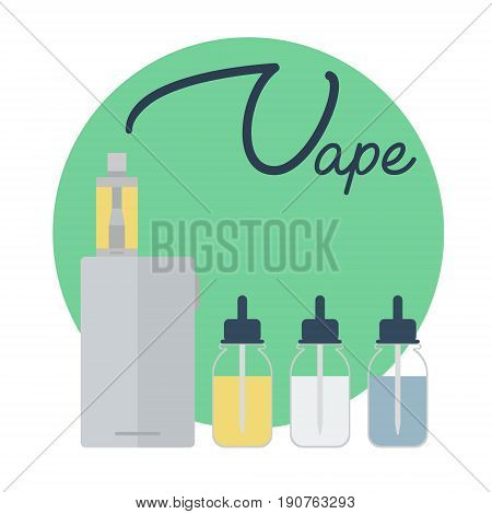 Vape shop concept. Vape with vapor steam lettering isolated