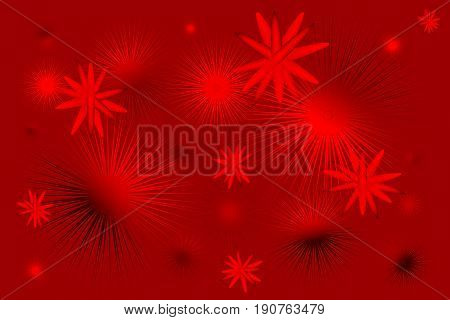 Abstract red background with molecule and spiky balls