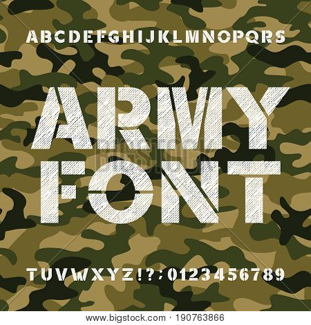 Army alphabet font. Scratched bold type letters and numbers on a seamless camo background. Vector typography for your design.