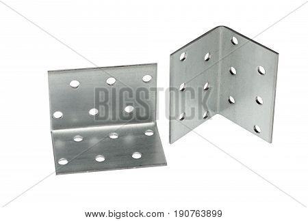 the metallic angle fixator on white background