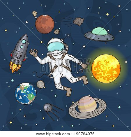 Set of space elements. Concept vector illustration in cartoon style