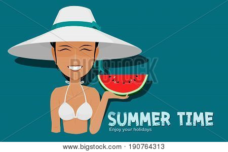 Lively girl is presenting a piece of watermelon on blue background
