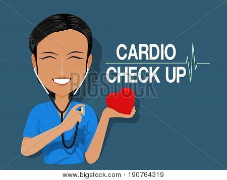 A medical staff is using  Stethoscope on blue background